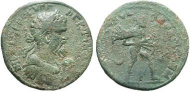 78: Pisidia, Cremna. Septimius Severus. A.D. 193-211. Bronze medallion. Ex Boston MFA (number 62.244). SNG BN 1491. Fine. Estimate: $500.