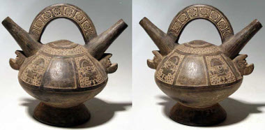 265: A marvelous Lambayeque (Sican) Dragon bottle from Peru, ca. 700-1300 AD. This exceptional example is 8