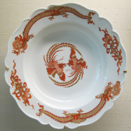The most famous Meissen china set entitled 'Red Dragon' was deliberately imitated in 1730 to remain reserved to the Saxon King as royal porcelain until 1918. Photograph: UK.