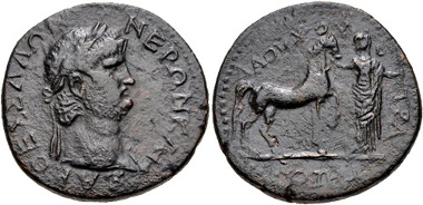 46: Thessaly, Koinon of Thessaly. Nero. AD 54-68. Tetrassarion. Laouchos, strategos. BCD Thessaly II 934. VF. Estimate $500.
