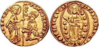 851: Italy, Venezia (Venice). Tommaso Mocenigo. 1413-1423. Ducato Papadopoli 1. Near EF. Estimate $300.