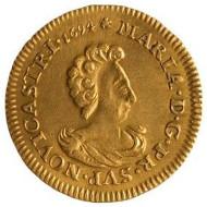 Fürstentum Neuchâtel. Marie de Nemours, Double pistole, 1694, Gold. 13,66 g. 30 mm. DWM 154.