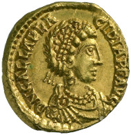 Roman Imperial Times. Galla Placidia (b. around 390, d. 450). Tremissis, Rome or Ravenna, 425. Pearl-diademed, draped bust of Galla Placidia r. Rev. cross within wreath. © MoneyMuseum, Zürich.