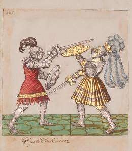 Turnierbuch Freydal. Hier ist ein Fußkampf mit dem Schwert dargestellt - Maximilian ist ganz in Gold gekleidet. Süddeutsch, 1512-1515. KHM, Wien, Kunstkammer. © KHM Wien.