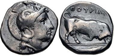 11: LUCANIA, Thourioi. Nomos, circa 400-350 BC. HN Italy 1800. VF. Estimate: $100.