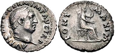 451: Vitellius. Denarius, struck circa late April-20 December AD 69, Rome mint. RIC I 107. VF. Estimate: $300.