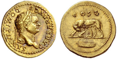 Lot 903: Roman Empire, Domitian, Aureus. Estimate: CHF 40,000.