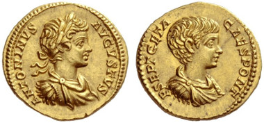Lot 1044: Roman Empire, Geta and Caracalla, Aureus. Estimate: CHF 100,000.