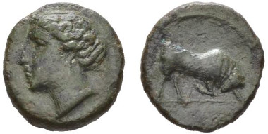 13: Sicily, Aluntium. Bronze, late 4th century. Calciati 5 var. An apparently unpublished variety. Good very fine. Starting bid: GBP 120.