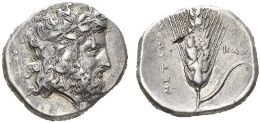 9: Lucania, Metapontum. Nomos, 340-330. SNG ANS 412 (this obverse die). Traces of overstriking, otherwise very fine. Starting bid: GBP 700.
