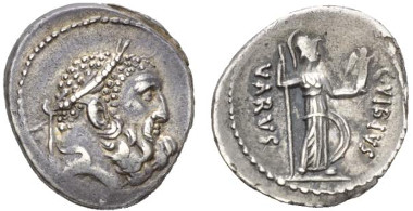 129: Roman Republic. C. Vibius Varus. Denarius, circa 42. Crawford 494/37. Area of weakness on reverse, otherwise extremely fine. Starting bid: GBP 800.