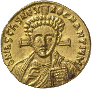 Byzantine Times. Justinian II, 2nd reign (705-711). Solidus, Constantinople. Facing bust of Christ with nimbus, raising right hand in benediction and holding book of gospels in left. Rev. Crowned facing bust of Justinian, holding cross potent on three steps in right hand and patriarchal globe inscribed with 'PAX' (Lat. peace) in left. © MoneyMuseum, Zürich.