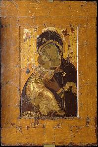 Nach dem Bilderstreit begann in der orthodoxen Kirche die Ikonenkunst zu erblühen. Ein Beispiel dafür ist eine der wichtigsten Ikonen der russischen Orthodoxie, die Ikone der Gottesmutter von Vladimir, wohl im frühen 12. Jahrhundert in Konstantinopel gefertigt. Quelle: Wikicommons.