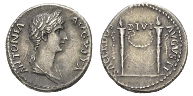 139: Roman Empire. In the name of Antonia, wife of Nero Claudius Drusus. Denarius, circa 41-45. RIC Claudius 68. Extremely fine. Starting bid: GBP 3,000.
