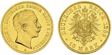PREUSSEN, Wilhelm II. 10 Mark, 1889, A. Ausnehmend feiner Erstabschlag. Jaeger 249. Ausruf: 10.000 Euro.