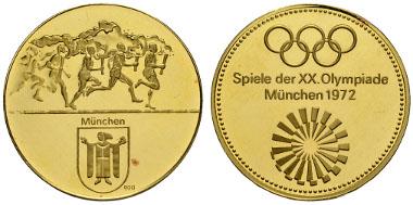 THEMATIK, Sport 1972 München XX. Olympiade 1972 München. Komplette Kollektion der offiziellen Goldmedaillen, 9 Stück je prooflike in der originalen hellblauen Sammelschatulle. Ausruf: 17.000 Euro.