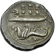 No. 291 PHOENICIA, BYBLOS. Azbaal, 400-476 B. C. Shekel. SNG Cop. 132. Extremely fine. 3,800 Euros.