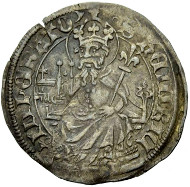 No. 923 BASEL. Plappart, after the treaty of 1425. The city shield in a trefoil. Rv. The Holy Roman Emperor Heinrich seated on a Gothic throne, holding a model of the church and a lily scepter. Ewig 474 (this coin). Good very fine. 10,000 Euros.