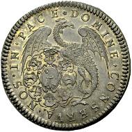 No. 942 BASEL. Undated Thaler (about 1710), die cut by J. de Beyer. Ewig 191. Uncirculated. 1,500 Euros.