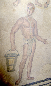Slave carrying water. Mosaic from the thermal baths. Photo: KW.