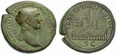 Traian. Sestertius, 103-111. Rv. Circus Maximus. From auction sale Numismatik Lanz 144 (2008), 475.