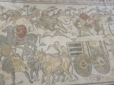 Detail from the mosaic in the hallway of the great hunt. Photo: KW.