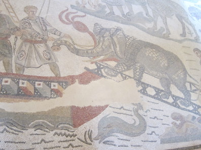 Detail from the mosaic in the hallway of the great hunt: elephant. Photo: KW.