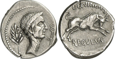 L. Livineius Regulus. Denar, 42 BC. Rv. Bull at the games in Caesar's honour. From auction sale Gorny & Mosch 195 (2011), 372.