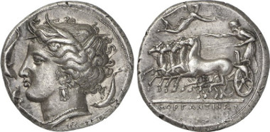Morgantina. Tetradrachme, um 340 v. Chr. Aus Auktion Gorny & Mosch 199 (2011), 75.