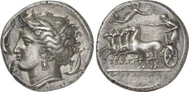 Morgantina. Tetradrachm, around 340 BC. From auction sale Gorny & Mosch 199 (2011), 75.