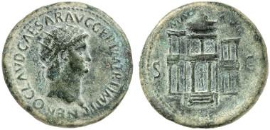 Nero. Dupondius, 64. Rv. The Macellum Magnum. From auction sale  Gorny & Mosch 211 (2013), 577.