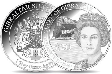 Gibraltar/ 20 pounds/ Troy ounce/ Silver 999/ 37 mm.