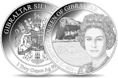 Gibraltar/ 20 Pfund/ Troy Unze/ Silber 999/ 37 mm.