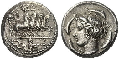 56: Syrakus (Sizilien). Tetradrachme, 415-409, signiert von Euth. und Phrygillos. Tudeer 57. Vorzüglich. Aus Auktion Numismatik Lanz 24 (1983), 143. Schätzung: 10.000 Euro.