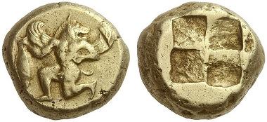 219: Kyzikos (Mysien). Elektronstater, 500-450. Fritze 123. Äußerst selten. Vorzüglich. Schätzung: 40.000 Euro.