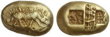 252: Phanes (Ephesos / Ionien). Elektronstater, milesischer Standard. BMC 1 (stgl. = Wiedauer 39). Äußerst selten. Vorzüglich. Aus Sammlung Rosen, New York. Schätzung: 150.000 Euro.