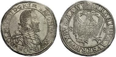 748: RDR. Rudolf II., 1576-1612. Taler, Wien, 1588. Unikum. Fast Stempelglanz. Schätzung: 20.000 Euro.