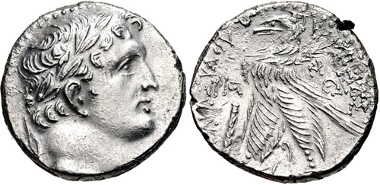 814: PHOENICIA, Tyre. 126/5 BC-AD 65/6. Shekel, dated CY 116 (11/10 BC). DCA 920 (R2); DCA Supp. (forthcoming) 267 (this coin). VF. Estimate $300.