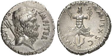 Sextus Pompeius, + 35. Denar, 37/6, sizilische Münzstätte. Aus Auktion Künker 243 (2013), 4694.