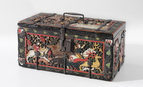 Jewellery box decorated with scenes of chivalric life around 1320. © Zürich, Schweizerisches Nationalmuseum.