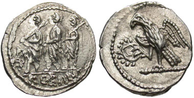 10: Scythia, Geto-Dacians. Koson. Mid 1st century B.C. Drachm. RPC 1701 (AV stater). gVF, slight double strike on obverse. Estimate: $600.