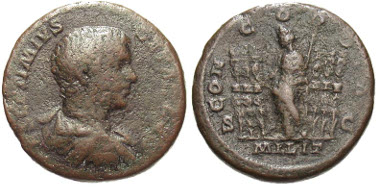 108: Geta. As Caesar, A.D. 208, As, Rome mint. RIC 141b. gFine. Estimate: $275.
