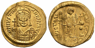 150: Justinian I. Solidus, 542-552, Constantinople mint. SBV 140. VF. Estimate: $950.