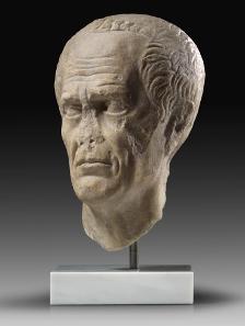 10: Portrait of Caius Julius Caesar, c. 40-20 B. C. White-grey marble probably from Asia Minor. Height: 30 cm. Estimate: 200,000 euros.