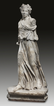 7: Maenad. Roman Imperial times, late Antonine, 2nd half 2nd cent. A. D. Slightly grey mottled, slightly macrocristallyne marble. Height 88 cm. Estimate: 150,000 euros.