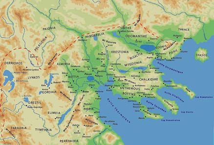 Karte des antiken Makedonien. Quelle: Wikipedia.