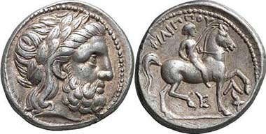 Tetradrachme Philipps II., geprägt nach seinem Tod ca. 315/4 - 295/4 v. Chr. in Amphipolis. Aus Auktion Gorny & Mosch 146 (2006), 162.