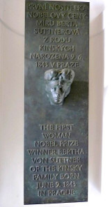 Memorial plaque for Bertha von Sutter at Kinsky Palace, Prague. Photograph: R. Kukacka/L. Jerábek / Wikicommons.