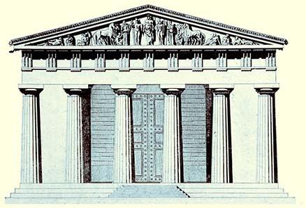 Tempel von Olympia, im Giebel die Darstellung des Pelops vor dem Wagenrennen.