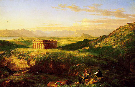 Thomas Cole, Temple of Segesta, in the foreground: artist at work. Painting from 1843.